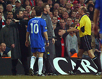 Photo. Daniel Hambury, Digitalsport<br /> Chelsea v Liverpool.<br /> <br /> Carling Cup Final.<br /> 27/02/2005<br /> Chelsea's Jose Mourinho is sent off by referee Steve Bennett