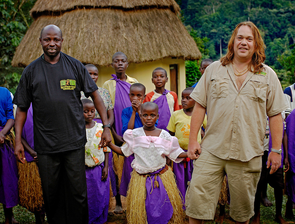 Emmanuel Van Heygen of ExoTerra sponsors an orphan at the Bwindi camp site.