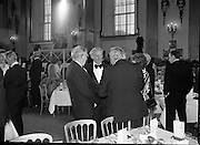 President Reagan Visits Ireland..(formal dinner)..1984.04.06.1984.06.04.1984.4th June 1984..The Banquet for President and Mrs Reagan was held in Dublin Castle,Dame St,Dublin..Photo of the invited guests,which included former Taoiseach,Mr Jack Lynch,as they prepare to take their seats.