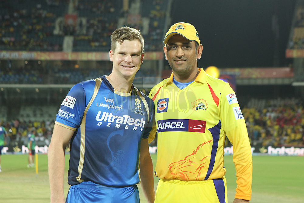 csk captain Dhoni(R) and RR captain Steve Smith after toss during match 47 of the Pepsi IPL 2015 (Indian Premier League) between The Chennai Superkings and The Rajasthan Royals held at the M. A. Chidambaram Stadium, Chennai Stadium in Chennai, India on the 10th May 2015.<br /> <br /> Photo by:  Saikat Das / SPORTZPICS / IPL
