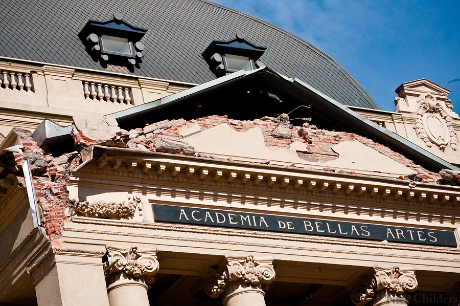 Santiago, Chile 2010<br /> <br /> The contemporary art museum, Academia de Bellas Artes, with heavy damage two weeks after the 7.7 earthquake that struck just outside the capital of Santiago.