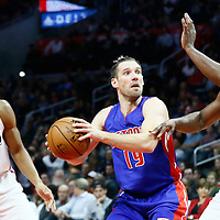 07 November 2016: Detroit Pistons guard Beno Udrih (19) drives past Los Angeles Clippers forward Wesley Johnson (33) and Los Angeles Clippers guard Raymond Felton (2) during the LA Clippers 114-82 victory over the Detroit Pistons, at the Staples Center, Los Angeles, California, USA.