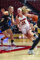 NORMAL, IL - October 30: Cameron Call defended by Emily Benzscgawel during a college women's basketball game between the ISU Redbirds and the Lions on October 30 2019 at Redbird Arena in Normal, IL. (Photo by Alan Look)