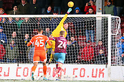 Shrewsbury Town goalkeeper Dean Henderson (1) makes a save  during the EFL Sky Bet League 1 match between Scunthorpe United and Shrewsbury Town at Glanford Park, Scunthorpe, England on 17 March 2018. Picture by Mick Atkins.