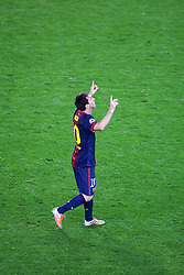 Lionel Messi celebrates scoring the winning goal during the Group G UEFA Champions League match between FC Barcelona and Spartak Moscow at the Nou Camp, Barcelona, Spain 19th September 2012. Credit - Eoin Mundow/Cleva Media