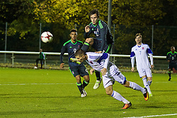 BANGOR, WALES - Tuesday, November 15, 2016: Wales' Liam Cullen in action against Luxembourg's Ajdin Bjelic during the UEFA European Under-19 Championship Qualifying Round Group 6 match at the Nantporth Stadium. (Pic by David Rawcliffe/Propaganda)