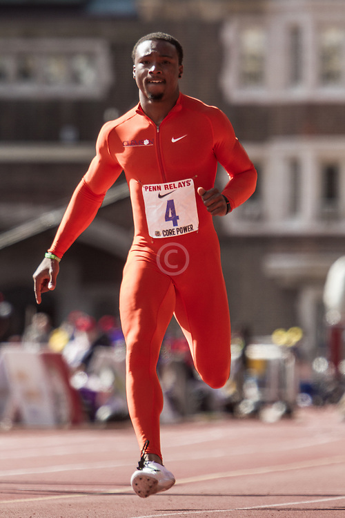 Penn Relays, college men 100m, winner, Tevin Hester, Clemson,