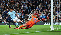 Football - 2017 / 2018 UEFA Champions League - Group F: Manchester City vs. Napoli<br /> <br /> Gabriel Jesus of Manchester City scores at The Etihad.<br /> <br /> COLORSPORT/LYNNE CAMERON