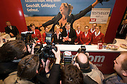 ITB (Internationale Tourismusbörse) 2005, World's largest tourism fair..The Mayor of Berlin, Klaus Wowereit (m., red tie) posing with Air Berlin staff during his opening walk around the fair grounds.