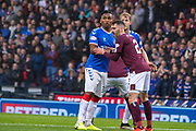 Alfredo Morelos of Rangers FC held by Michael Smith of Hearts during the Betfred Scottish League Cup semi-final match between Rangers and Heart of Midlothian at Hampden Park, Glasgow, United Kingdom on 3 November 2019.