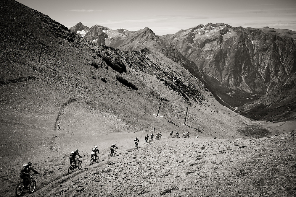 Competitors snake down course during the heats for the Mountain of Hell race, held in Les Deux Alpes, France.