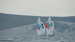 2012 Olympic Games London / Weymouth<br /> 470 Training race<br /> Dahlberg Anton, Oestling Sebastian, (SWE, 470 Men)<br /> ANDRADE Francisco Rebello De, Freitas Bernardo, (POR, 49er)