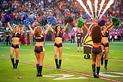 The Arizona Cardinals cheerleaders line up to welcome the team during Arizona Cardinals player introductions before the NFL week 7 regular season football game against the Denver Broncos on Thursday, Oct. 18, 2018 in Glendale, Ariz. The Broncos won the game 45-10. (©Paul Anthony Spinelli)