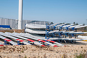 giant wind turbine blades ready for shipping and installing at RiaBlades (senvion) factory site,  Soza, Portugal.