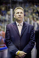 KELOWNA, CANADA, DECEMBER 27: Don Nachbaur head coach of the Spokane Chiefs stands on the bench at the Kelowna Rockets on December 7, 2011 at Prospera Place in Kelowna, British Columbia, Canada (Photo by Marissa Baecker/Getty Images) *** Local Caption ***