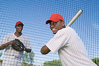 Baseball players at batting practice