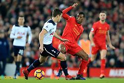 11th February 2017 - Premier League - Liverpool v Tottenham Hotspur - Georginio Wijnaldum of Liverpool battles with Harry Winks of Spurs - Photo: Simon Stacpoole / Offside.