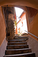 Ticino, Southern Switzerland. Intragna. Stone stairway leading up to a courtyard.