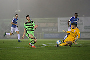 Forest Green Rovers Kieffer Moore(14) shoots at goal makes a save during the Vanarama National League match between Forest Green Rovers and Dover Athletic at the New Lawn, Forest Green, United Kingdom on 17 December 2016. Photo by Shane Healey.