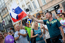 Supporters during reception of Slovenian U20 handball players after winning gold at 2018 EHF U20 Men's European Championship, on July 30, 2018 in Ljubljana, Slovenia. Photo by Urban Urbanc / Sportida