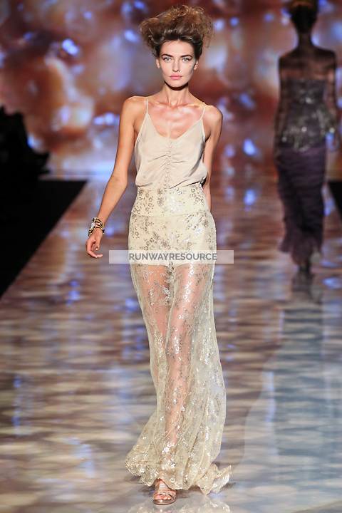 Melissa Tammerijn walks the runway wearing Badgley Mischka Spring 2012 Collection during Mercedes-Benz Fashion Week in New York on September 13, 2011