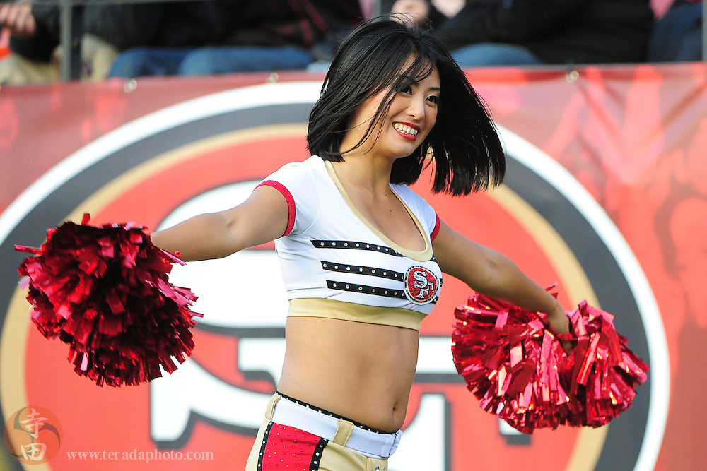 August 27, 2011; San Francisco, CA, USA; San Francisco 49ers Gold Rush cheerleader Miho performs during the second quarter against the Houston Texans at Candlestick Park. The Texans defeated the 49ers 30-7. Mandatory Credit: Kyle Terada-Terada Photo