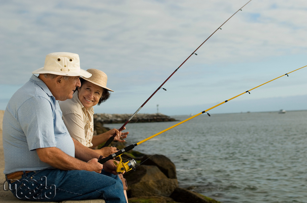 Senior Couple Fishing at the Beach