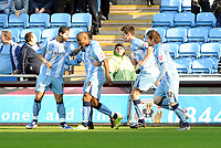 Ricoh Stadium Coventry City v Birmingham City Championship 21/02/2009<br /> Scott Dann (Coventry) celebrates  first goal with Leon Best, Clinton Morrison  and  Aron Gunnarsson<br /> Photo Roger Parker Fotosports International