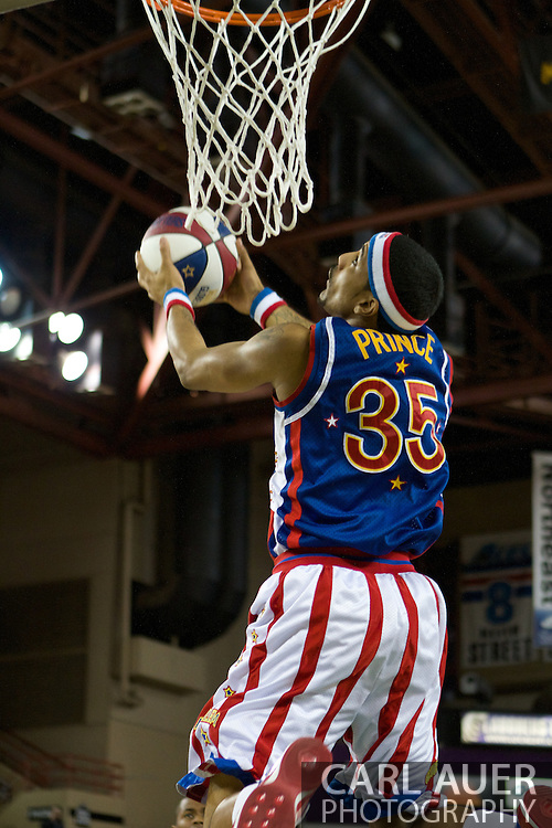 April 30th, 2010 - Anchorage, Alaska:  Prince Perez starts off the show against the Washington Generals with a reverse dunk in front of the crowd at the Sullivan Arena.