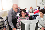 "14/10/2014 14/10/2014 Bredan ""Speedie"" Smith   teaching coding all over Galway including retired Galway teacher Padraigin Moylan,  at the Galway Education centre learning coding during the EU CODE WEEK. Photo:Andrew Downes a"