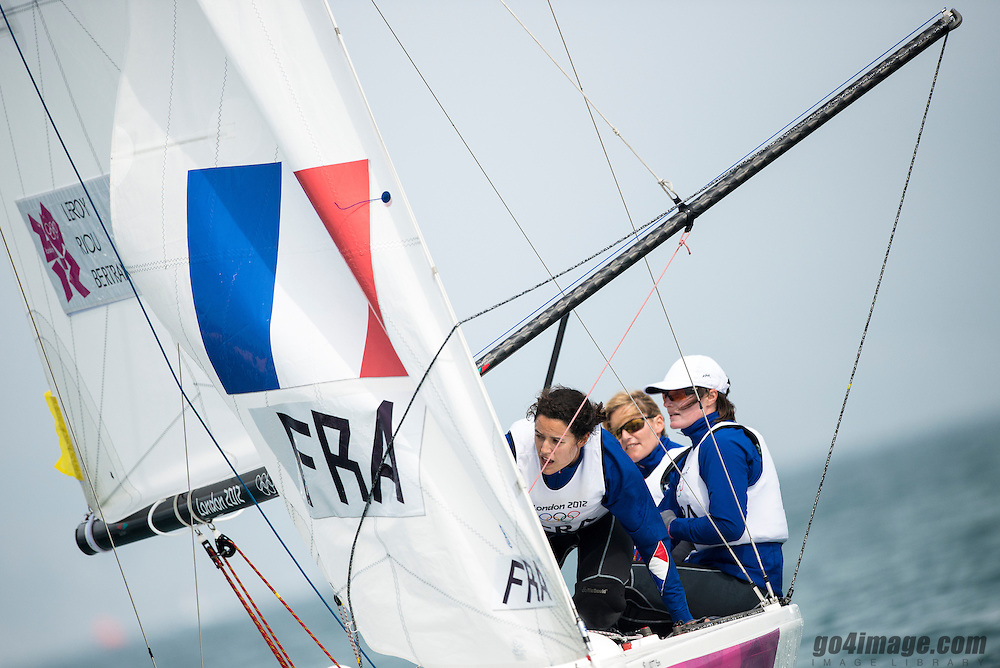 2012 Olympic Games London / Weymouth<br /> Matchrace day 3 round robin<br /> <br /> Match RaceFRALeroy Claire, Bertrand Elodie, Riou Marie