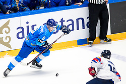 Talgat Zhailauov of Kazakhstan during ice hockey match between South Korea and Kazakhstan a at IIHF World Championship DIV. I Group A Kazakhstan 2019, on May 2, 2019 in Barys Arena, Nur-Sultan, Kazakhstan. Photo by Matic Klansek Velej / Sportida