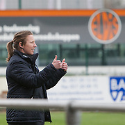 21120413 - IEPER, BELGIUM : England's Head coach Lois Fidler  gives a thumbs up to her players during the Second qualifying round of U17 Women Championship between England and Iceland on Friday April 13th, 2012 in Ieper, Belgium.