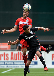 May 20, 2017 - Washington, DC, USA - 20170520 - Chicago Fire midfielder MATT POLSTER (2) heads the ball over D.C. United midfielder LAMAR NEAGLE (13) in the first half at RFK Stadium in Washington. (Credit Image: © Chuck Myers via ZUMA Wire)