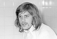 Billy Murray, footballer, Glentoran FC, Belfast, N Ireland, October, 1972, 197210280654<br /> <br /> Copyright Image from Victor Patterson, 54 Dorchester Park, Belfast, UK, BT9 6RJ<br /> <br /> t1: +44 28 9066 1296 (from Rep of Ireland 048 9066 1296)<br /> t2: +44 28 9002 2446 (from Rep of Ireland 048 9002 2446)<br /> m: +44 7802 353836<br /> <br /> victorpattersonbelfast@gmail.com<br /> victorpatterson@me.com<br /> <br /> www.victorpatterson.com<br /> <br /> Please see my Terms and Conditions of Use at https://www.victorpatterson.com/page2<br /> It is IMPORTANT that you familiarise yourself with them.<br /> <br /> Images used on the Internet incur an additional cost and must be visibly watermarked i.e. © Victor Patterson within the body of the image and copyright metadata must not be deleted. Images used on the Internet have a size restriction of 4kbs and are chargeable at rates available at victorpatterson.com.<br /> <br /> This image is available only for the use of the download recipient i.e. television station, newspaper, magazine, book publisher, etc, and must not be passed on to any third party. It is also downloaded on condition that each and every usage is notified within 7 days to victorpatterson@me.com<br /> <br /> The right of Victor Patterson (or the named photographer) to be identified as the author is asserted in accordance with The Copyright Designs And Patents Act (1988). All moral rights are asserted.