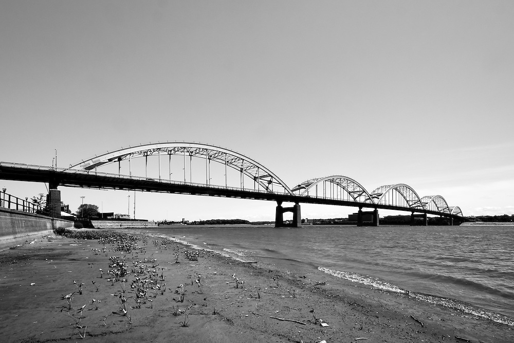 The Centennial Bridge spans the Mississippi River between Davenport, IA and Rock Island, IL.
