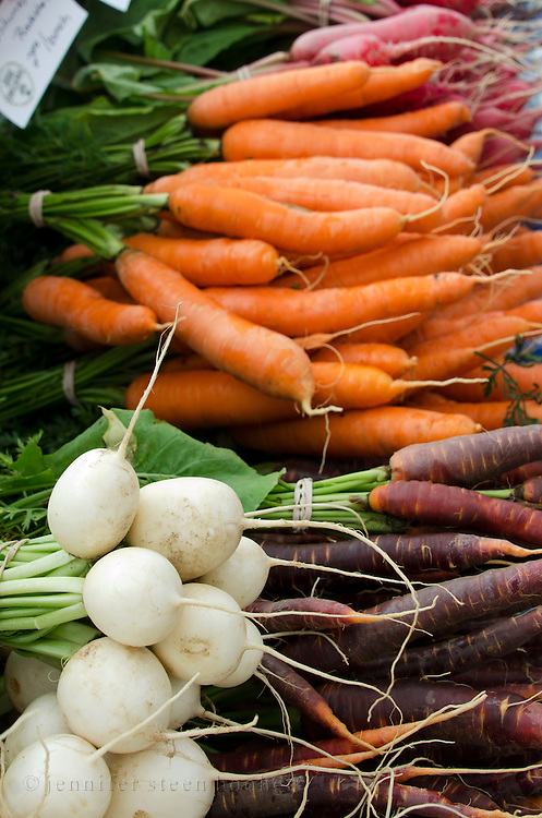 Organic carrots, beets, and white radishes at the Common Ground Fair farmers market, Unity Maine.