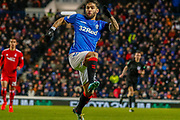Daniel Candeias jumps to try and block the Aberdeen keepers kick during the William Hill Scottish Cup quarter final replay match between Rangers and Aberdeen at Ibrox, Glasgow, Scotland on 12 March 2019.