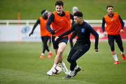 Harry Maguire (Leicester City) and Jadon Sancho (Borussia Dortmund)  during the England training session ahead of the UEFA Euro Qualifier against the Czech Repulbic, at St George's Park National Football Centre, Burton-Upon-Trent, United Kingdom on 19 March 2019.