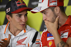June 8, 2017 - Montmelo, Barcelona, Spain - Press conference before a Gran Premi Monster Energy de Catalunya, Circuit of Montmelo.Thursday, June 08, 2017..In the picture:#93 Marc Marquez (Spanish) Repsol Honda Team Honda, #4 Andrea Dovizioso (Italian) Ducati Team Ducati  (Credit Image: © Jose Breton/NurPhoto via ZUMA Press)