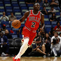 Oct 3, 2017; New Orleans, LA, USA; Chicago Bulls guard Jerian Grant (2) against the New Orleans Pelicans during a NBA preseason game at the Smoothie King Center. The Bulls defeated the Pelicans 113-109. Mandatory Credit: Derick E. Hingle-USA TODAY Sports
