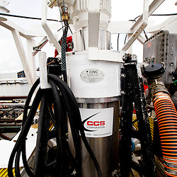 Ocean Therapy Solutions oil separating centrifuge device that will be deployed by BP Plc for oil spill clean up efforts is demonstrated on a vessel at Hornbeck Offshore in Port Fourchon, Louisiana, U.S., on Tuesday, June 15, 2010. (Mandatory Credit: Derick E. Hingle)