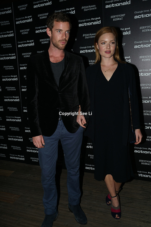 U Block 146 Brick Lane, London, UK. 10th October, 2017. Holliday Grainger, Harry Treadaway attend the ActionAid Survivors Runway - fashion show showcase the inner strength and dignity of survivors who have had the courage to speak out against gender-based violence