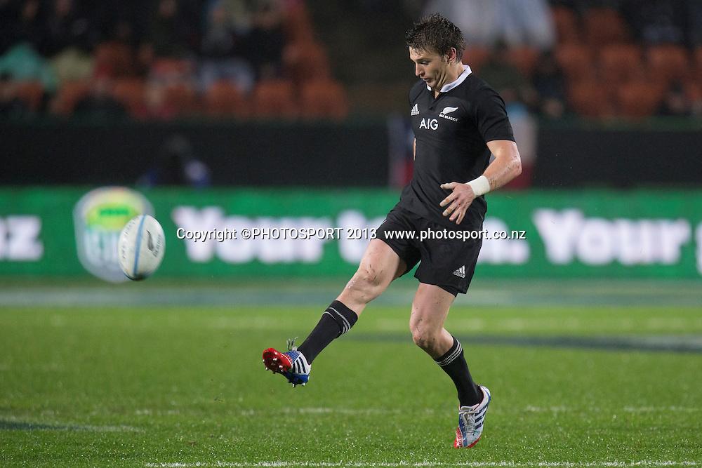 All Blacks' Beauden Barrett kicks during the Rugby Championship test match, All Blacks v Argentina, won by NZ 28-13 at Waikato Stadium, Hamilton, New Zealand, Saturday 7 September 2013. Photo: Stephen Barker/Photosport.co.nz