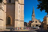 France, Côte-d'Or (21), Paysage culturel des climats de Bourgogne classés Patrimoine Mondial de l'UNESCO, Dijon, cathédrale Sainte Bénigne, et l'eglise Saint-Philibert // France, Burgundy, Côte-d'Or, Dijon, Unesco world heritage site, Sainte Benigne Cathedral