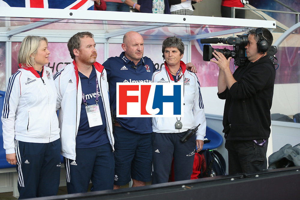LONDON, ENGLAND - JUNE 21: Television camera films the Great Britain bench during the FIH Women's Hockey Champions Trophy match between New Zealand and Great Britain at Queen Elizabeth Olympic Park on June 21, 2016 in London, England.  (Photo by Alex Morton/Getty Images)
