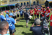 Jan 23, 2019; Kissimmee, FL, USA; The AFC and NFC teams participating listen to instructions before the 2019 Pro Bowl Skills Challenge at ESPN Wide World of Sports Complex. (Steve Jacobson/Image of Sport)