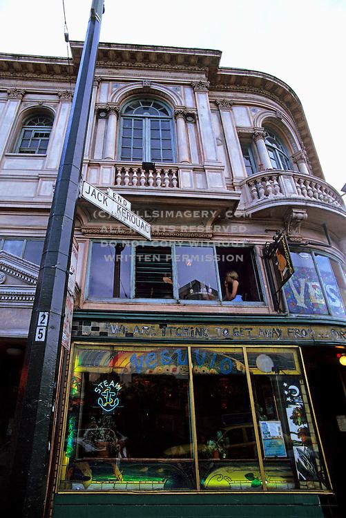 Image of historic Vesuvio Cafe and Bar at Columbus Avenue & Broadway, San Francisco, California, America west coast