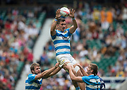 Twickenham, Surrey United Kingdom. Argentian, Conrado ROURA, collects the line out ball, in the Pool C game Scotland vs Argentina, at the &quot;2017 HSBC London Rugby Sevens&quot;,  Saturday 20/05/2017 RFU. Twickenham Stadium, England    <br /> <br /> [Mandatory Credit Peter SPURRIER/Intersport Images]