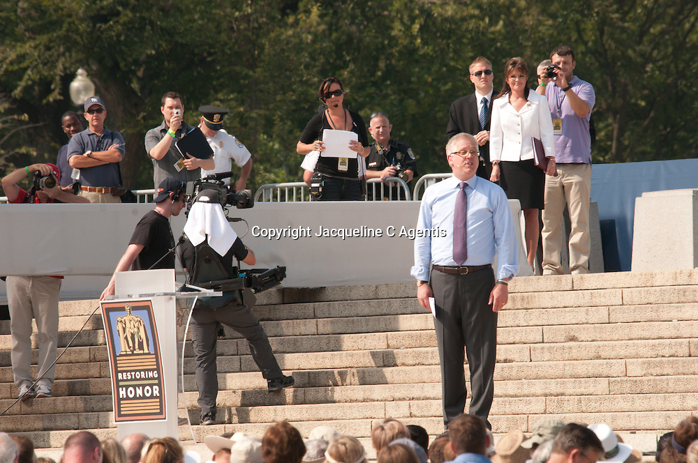 "Washington DC Glen Beck introducing Sarah Palin at the Restoring Honor Rally on the steps of the Lincoln Memorial on the same day as the Martin Luther King's Speech, ""I Have A Dream""..."